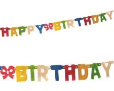 Girlande Geburtstag HAPPY BIRTHDAY bunt, schwer entflammbar 1,5 m x 11 cm
