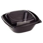 BIO Salatschalen mit Deckel aus Bio-Kunststoff (PLA) schwarz 960ml 50 Stk.