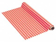 Tischdecke Tischtuch 110cm x 10m mit Alkoholschutzlackierung, LDPE, rot karo