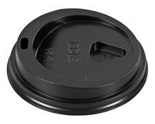 Domdeckel schwarz für Pappbecher - 'Coffee to go' - 200ml mit 80mm Ø, 100 Stk.