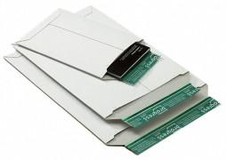 Vollpappe-Versandtasche PP V02.04, 237x342x -30mm, mit SK-Verschluss, A4+, weiß