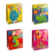 Premium Geschenktüten Präsenttüten groß TIERPARTY 320x260x135mm, 12 Stk.