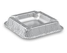 Alu Aschenbecher aus kräftigem Aluminium, eckig, 12,6 x 12,6 x 2,2 cm,   10 Stk.