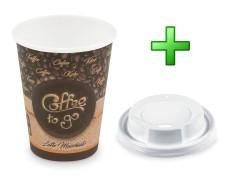 Kaffeebecher L Latte Macchiato To Go mit Trinkdeckel 350 ml 420 ml  100 Stk